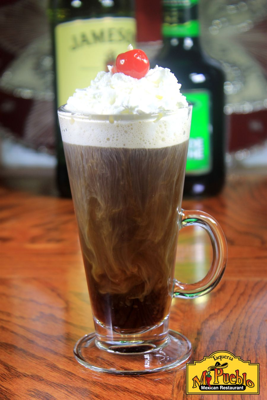 Irish coffee made with jameson whiskey coffee and sugar