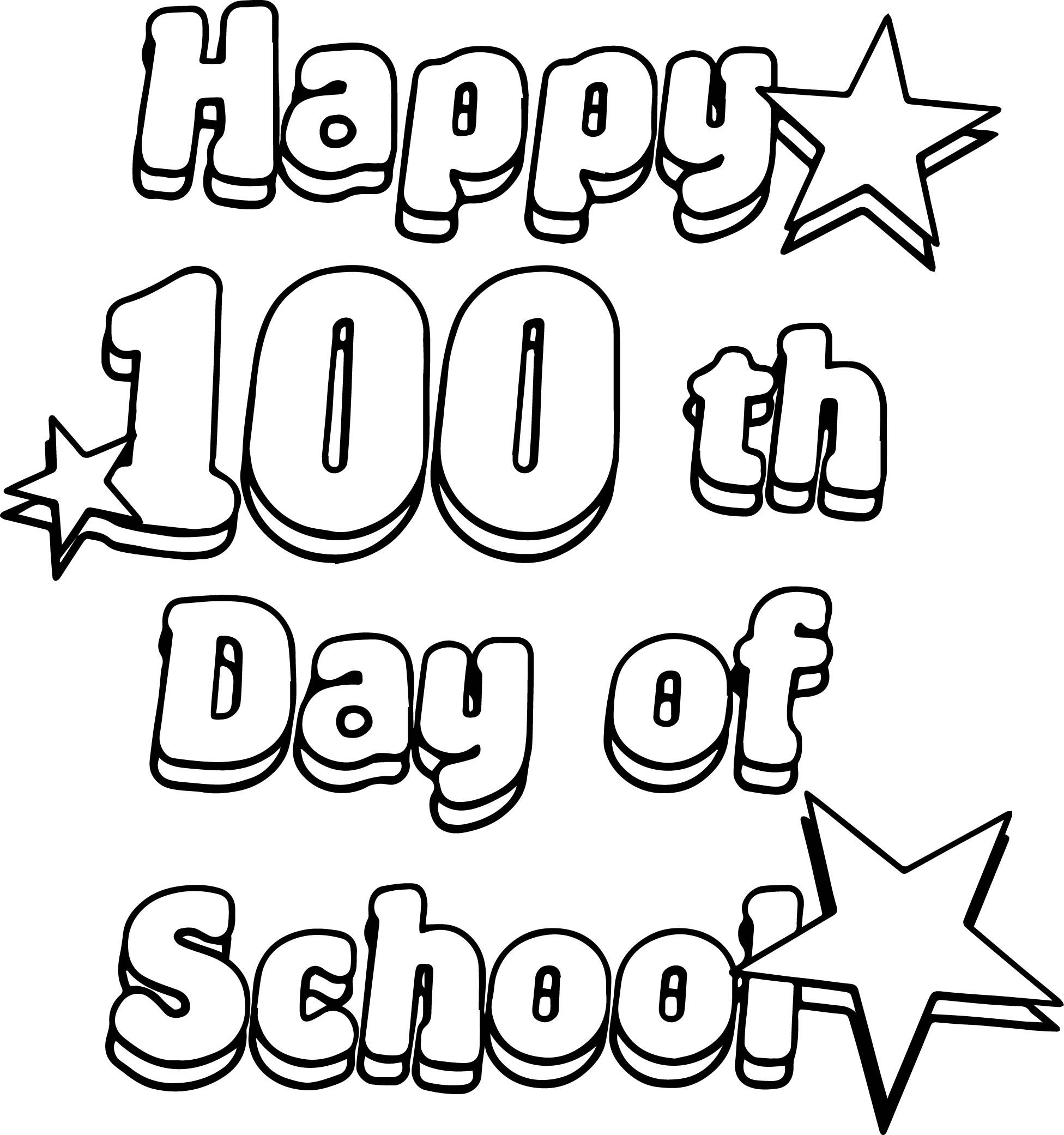 Nice Happy 100 Th Days Of School Coloring Page