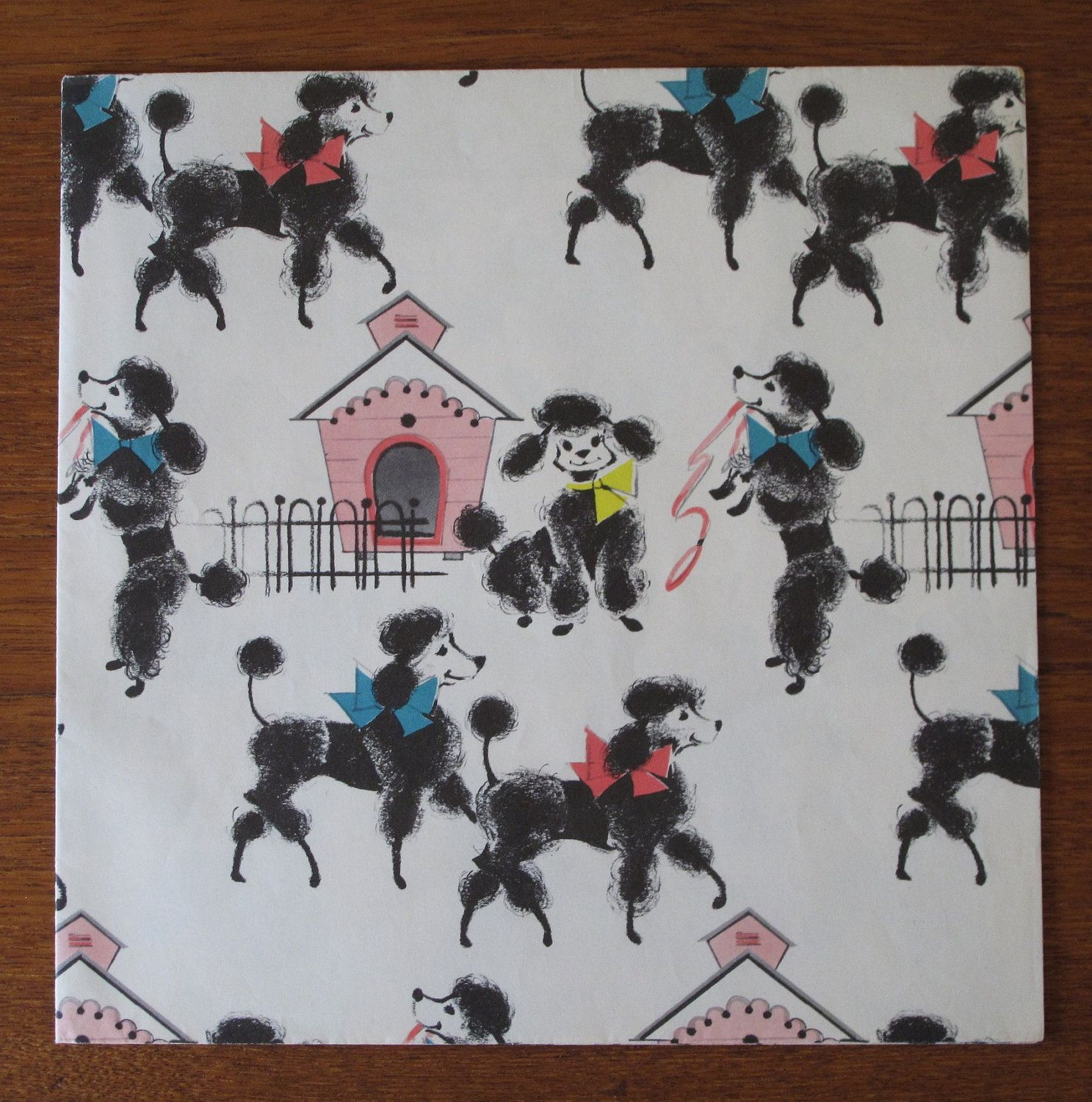 Vintage Occasional Wrapping Paper Gift Wrap Gibson POODLES 1950s Birthday