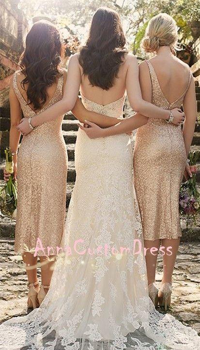 Sheath V Back Champagne Gold Sequin Tea Length Bridesmaid
