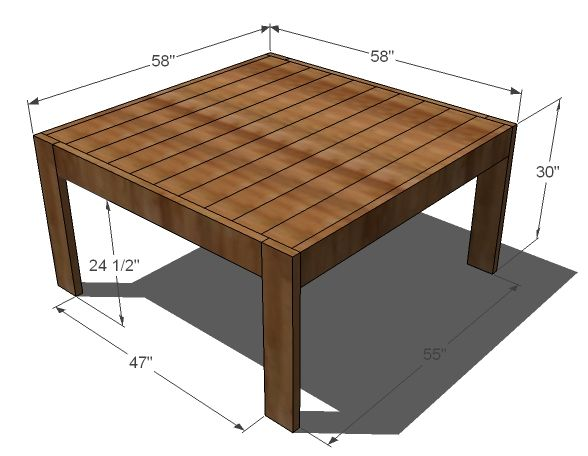 Square farmhouse table.  inches in main plans but altered plans