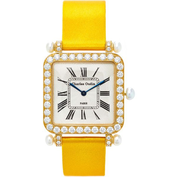 Charles Oudin 18K Yellow Gold Diamond and Pearl Large Pansy Retro... (31,930 CAD) ❤ liked on Polyvore featuring jewelry, watches, gold, 18k gold jewelry, diamond wrist watch, gold jewelry, 18 karat gold watches and pearl jewellery