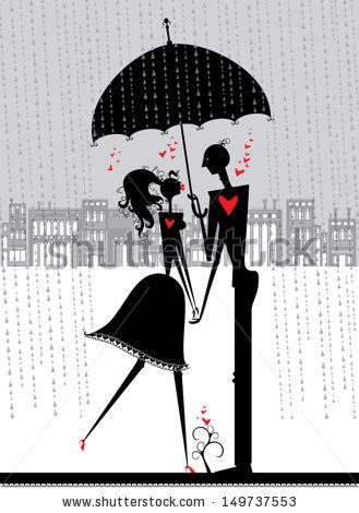 Enamored under an umbrella. A couple of lovers are hiding from the rain under an umbrella. First date.