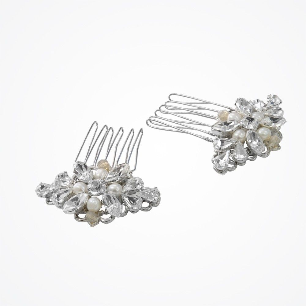 Love pearl and sand opal crystal combs (small)