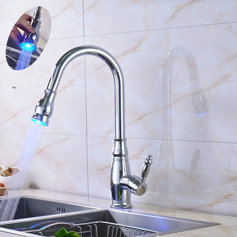 "71.34$  Buy now - http://ali399.worldwells.pw/go.php?t=32764923197 - ""Chrome Finished Led Light Pull Out Bathroom Kitchen Sink Faucet Deck Mounted Hot and Cold Water Tap With 10"""" Cover Plate"" 71.34$"