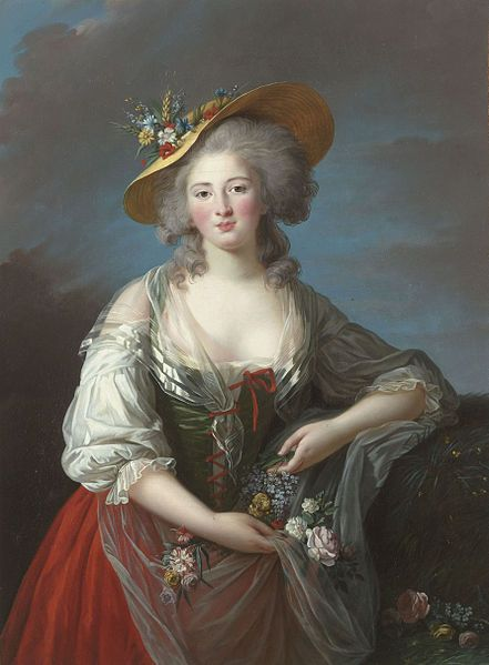 Madame Elisabeth de France, sister of Louis XVI, who perished with him and his family.  By Mme. Vigee Le Brun c. 1782, at the Palace of Versailles.