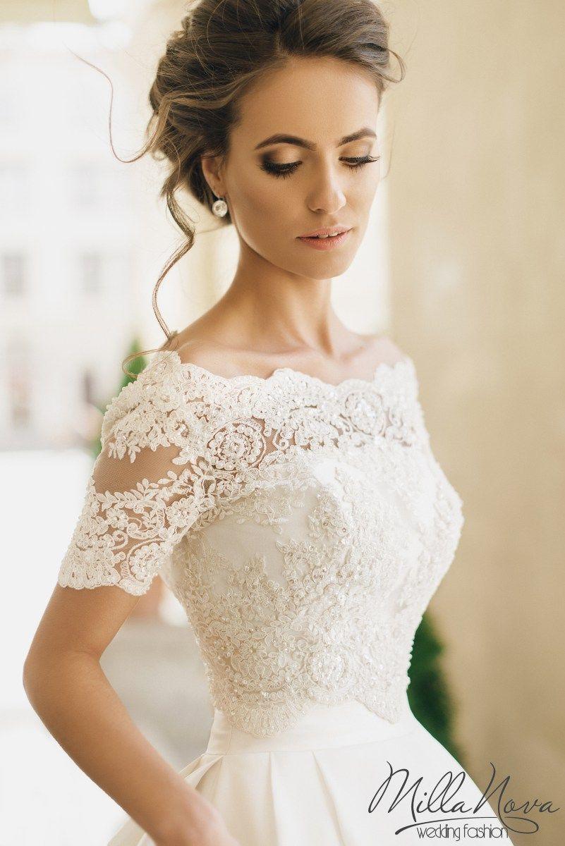 Milla Nova Kate Delicate Pearl Short Sleeve Wedding Dress Elegant Wedding Dress Wedding Dresses [ 1200 x 801 Pixel ]