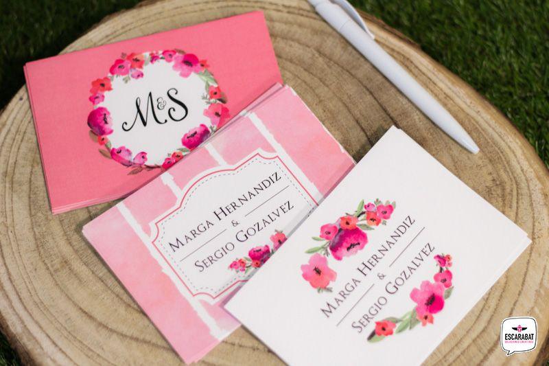 Boda - tarjeta de agradecimientos - estilo floral - colores rosas