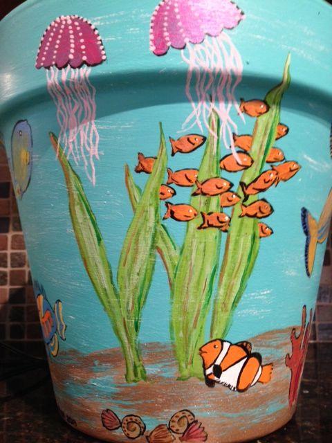 """Under Water"", hand painted flower pot."