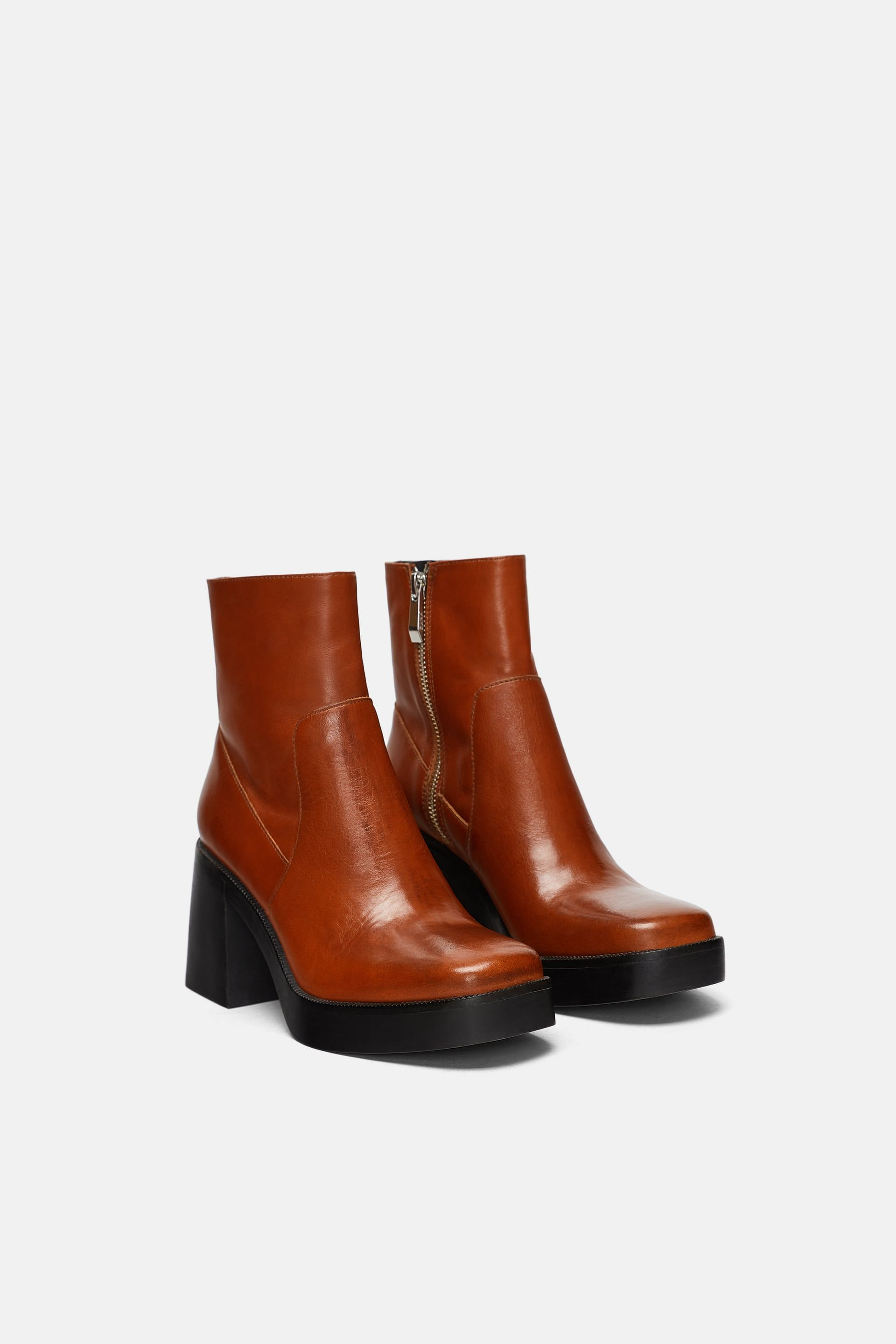 c03dd214 Image 1 of from Zara. ZARA - WOMAN - LEATHER TAPERED HEEL ANKLE BOOTS ...