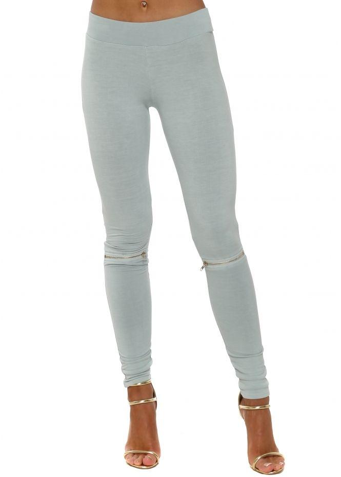 67ff6305d0991 A POSTCARD FROM BRIGHTON Flasher Zip Detail Julep Grey Jersey Legging