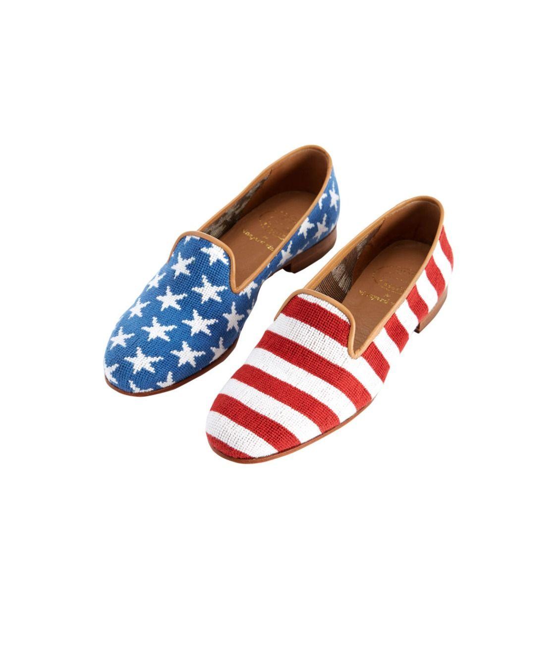Women's Stubbs & Wootton Needlepoint Stars & Stripes Slippers
