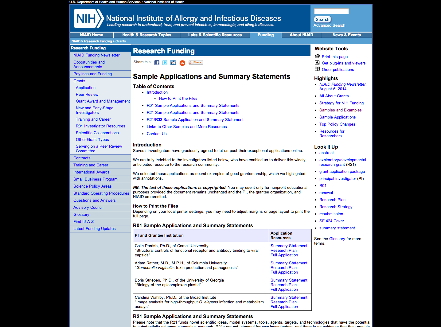 Sample R01 And R21 Applications And Summary Statements From Nih Niaid Proposal Writing Writing Resources Nih