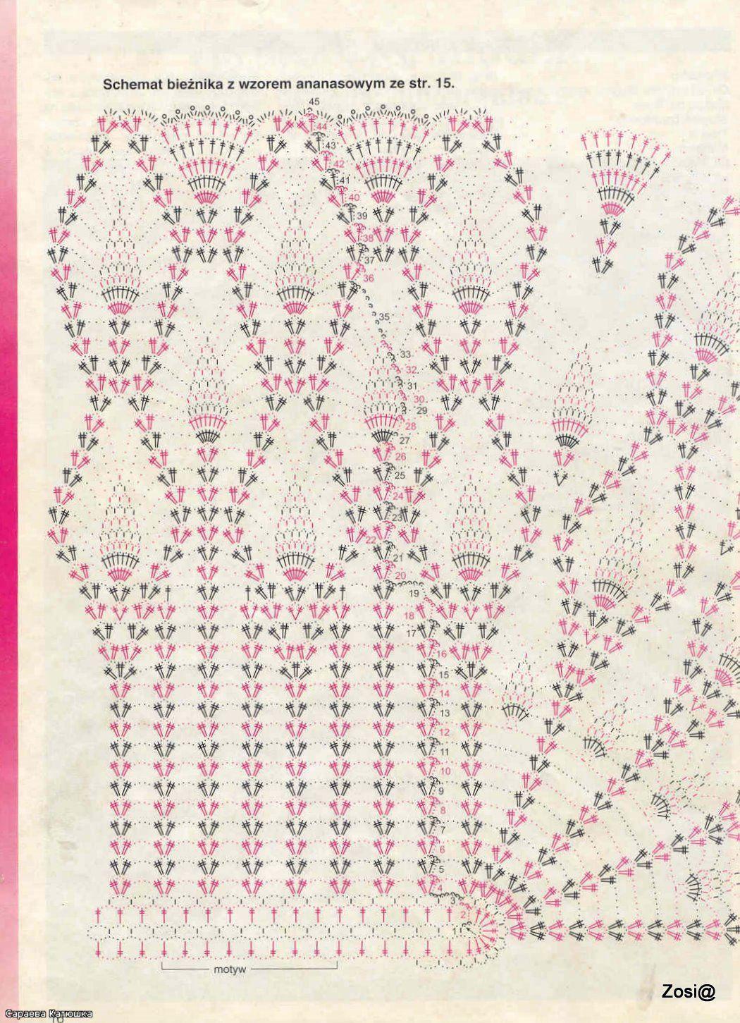 crochet oval pineapple doily, crochet pattern
