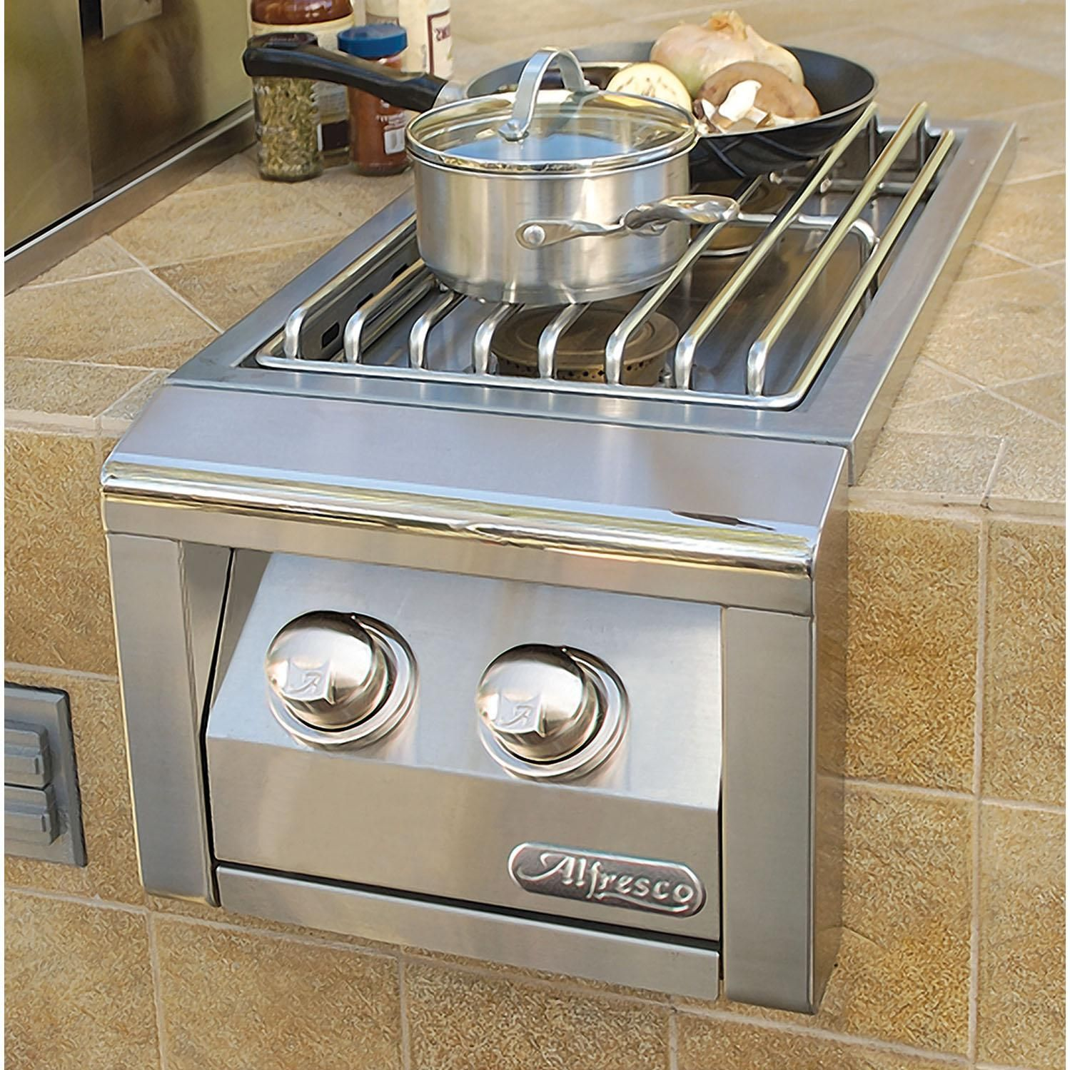 This Alfresco Natural Gas Dual Side Burner Has All Of The Power And Control Of A Pr Outdoor Kitchen Outdoor Kitchen Design Outdoor Kitchen Appliances