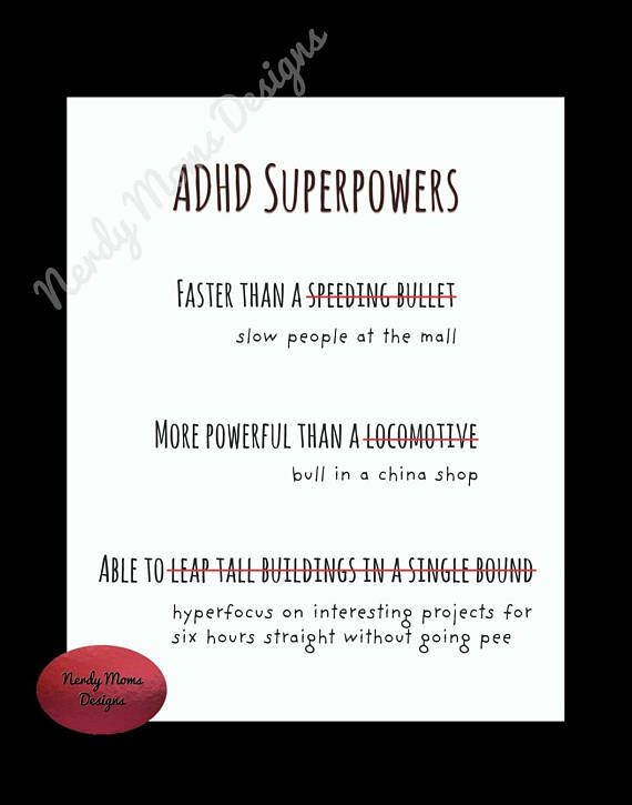 The Superpowers Of Adhd Psychologists >> Adhd Superpowers Adhd Digital Print Art Downloadable Print