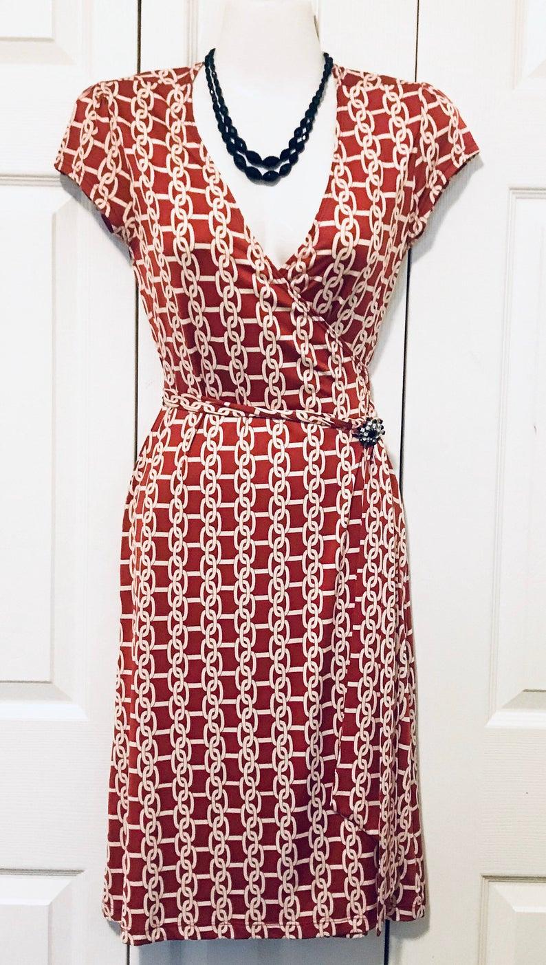 90s Vintage Wrap Dress Red White Knee Length Dress Etsy White Knee Length Dress Vintage Wrap Dress Necklines For Dresses [ 1403 x 794 Pixel ]