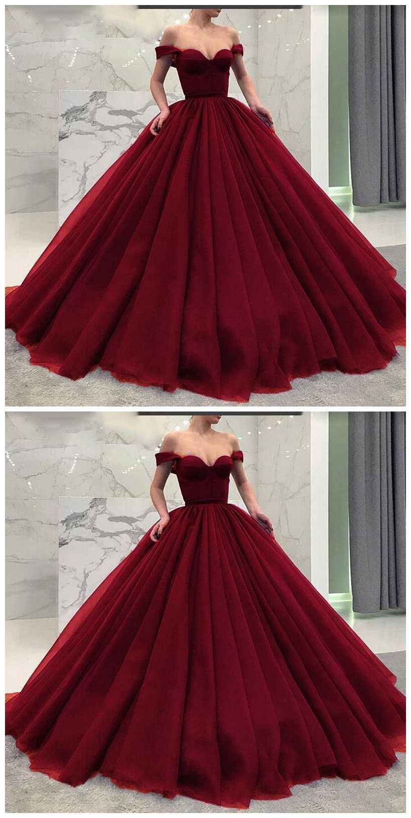 Fashionable Poofy Ball Gown Burgundy Wedding Dresses Off the ...