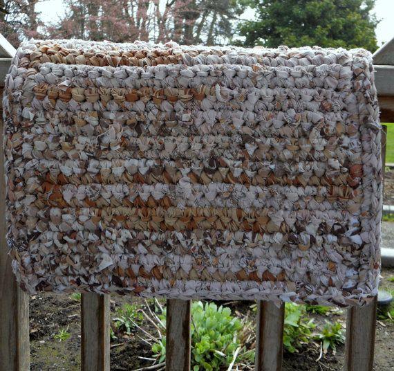 Recycled Rag Rug Crochet Floor Covering Bath Mat By