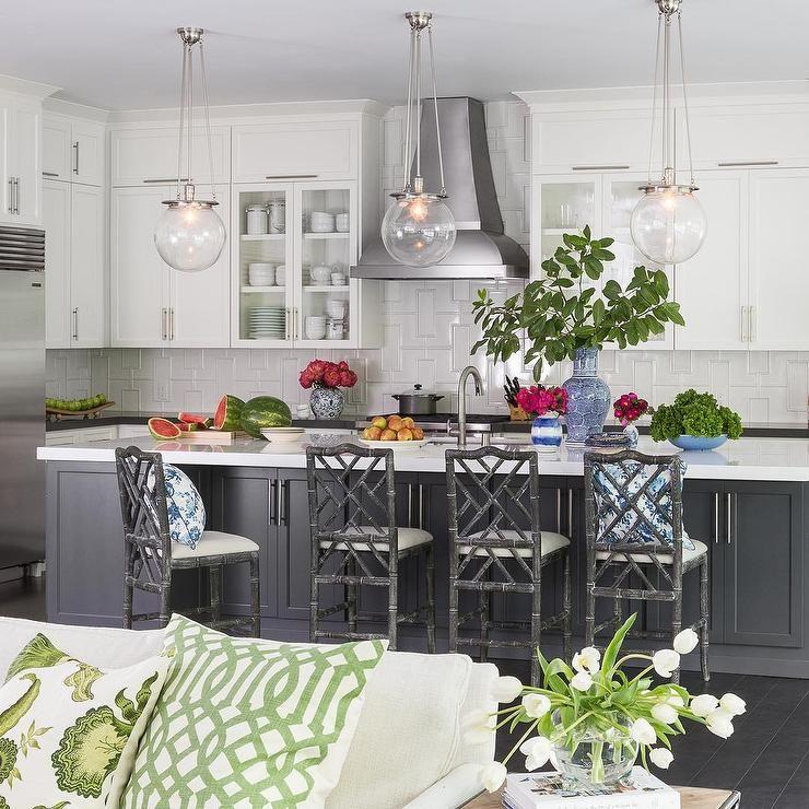 White Kitchen Cabinets With Grey Island: Three Rejuvenation Classic Globe Pendants Illuminates A