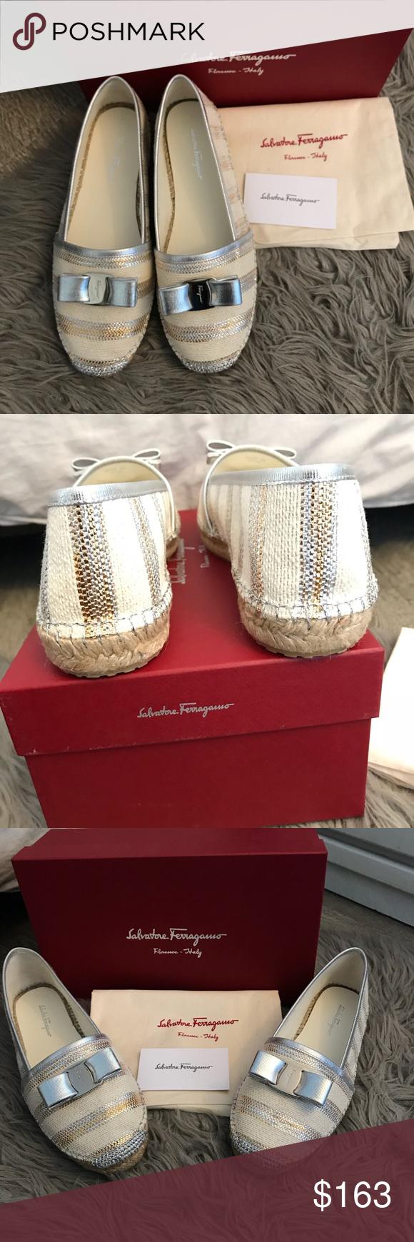 f4a96cef7 Salvatore ferragamo shoes flat Elodie Slip On 9.5 New w/ box Salvatore  ferragamo shoes Elodie espadrilles white silver gold Slip On 9.5 M 100%  authentic ...