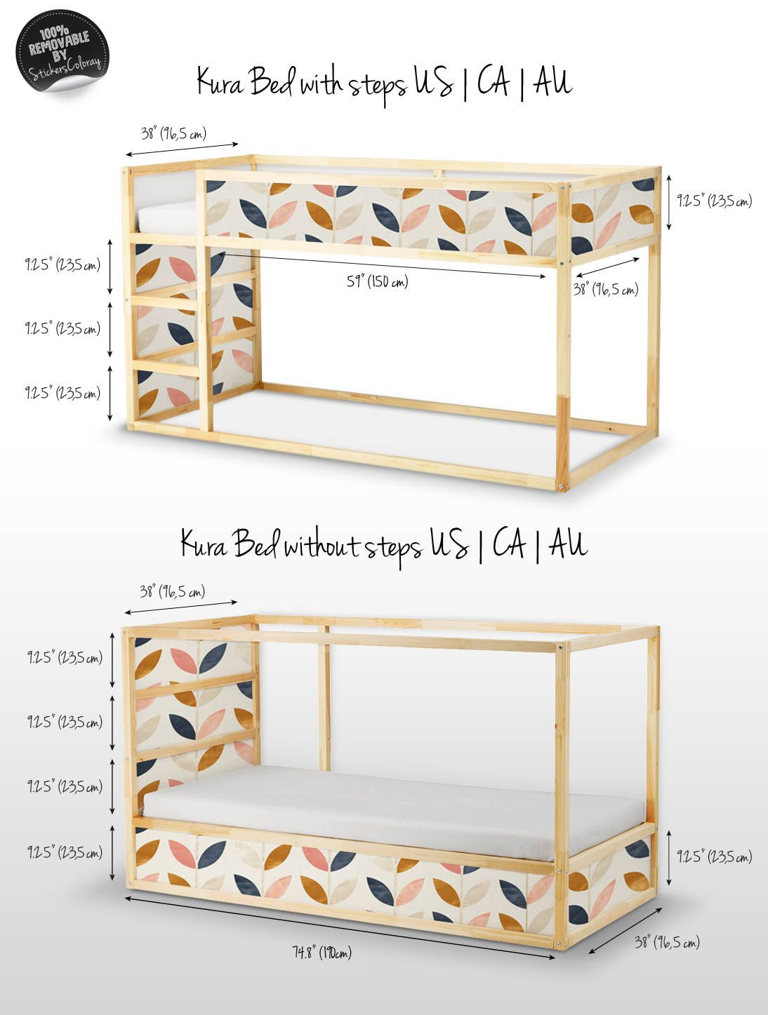Decals For Kura Bed Ikea Scandinavian Style Pattern Sticker Set