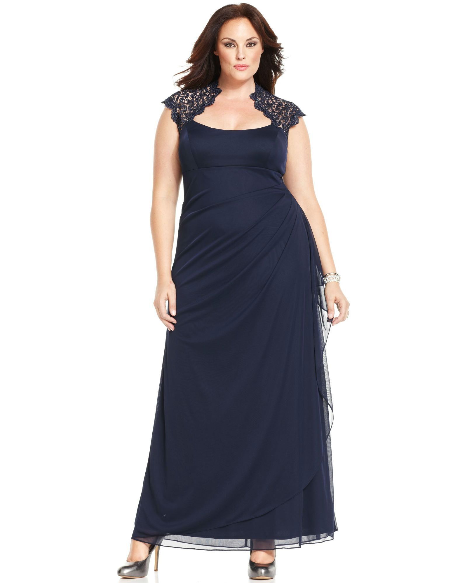 2a190faeb60e0 Xscape Plus Size Cap-Sleeve Lace Gown