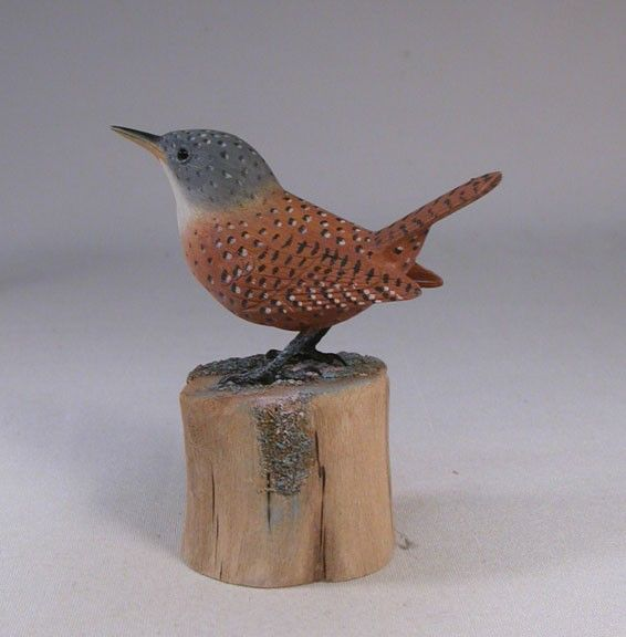 Canyon wren wood carving bird and woods