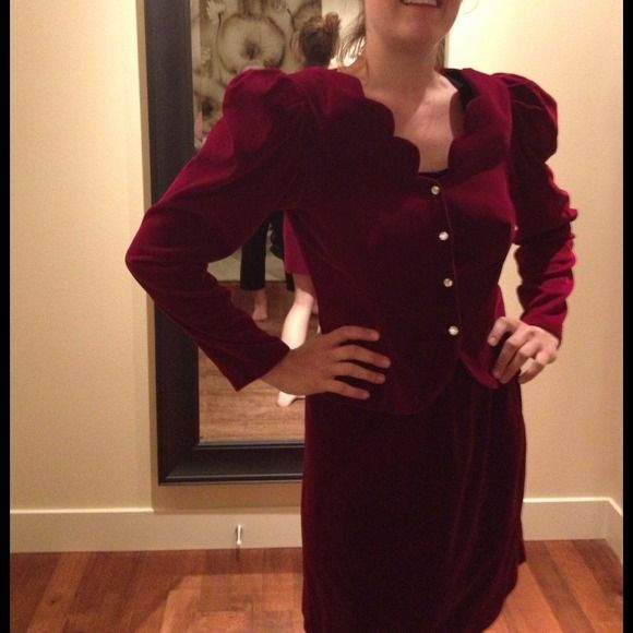 HOST PICKBEAUTIFUL SUIT WITH SAWORSKI BUTTONS Absolutely Gorgeous Velvet Suit. Fully lined. This is a high end Suit &'wears wonderful. Does not wrinkle. Beautiful Detailing. Scalloped neckline, Darts on bottom of jacket give a very tailored look as well as darts on back. Travels w/o wrinkling or crushing. It is a very deep burgundy red. Sleeves aren't as puffy as they seem on model as she did not fill out the bust area. This is a perfect outfit for those Special Occasions where you want to…