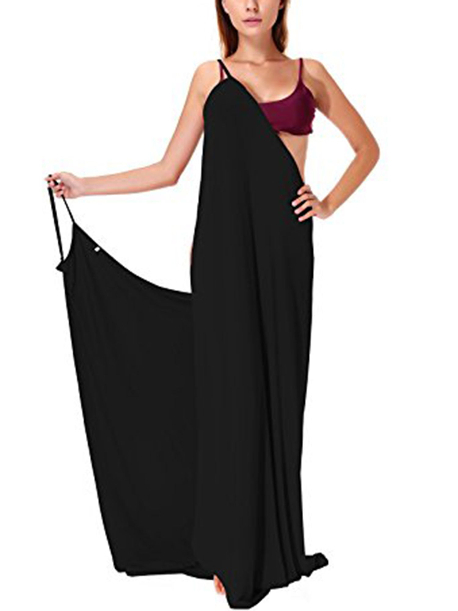 2bfbb451c06cf SAYFUT Womens Plus Size Bikini Cover Up Spaghetti Strap Backless Sexy Long Beach  Dress Black Plus