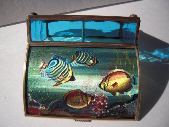 Glass Jewelry Box  Glass Trinket Box Vintage by BeckVintage, $15.00