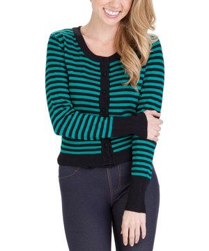 Indulge in fashion-savvy style with striking sweetness. This versatile cardigan boasts a bold stripe print and a timeless silhouette sure to flatter the figure.