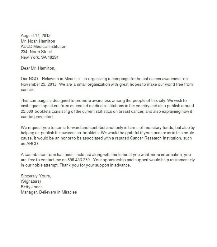 Sponsorship Letter Template   Museum    Proposal