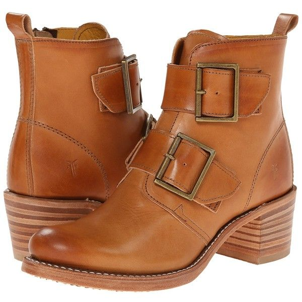 Frye Sabrina Double Buckle (Tan Smooth Vintage Leather) Cowboy Boots  (14.605 RUB)