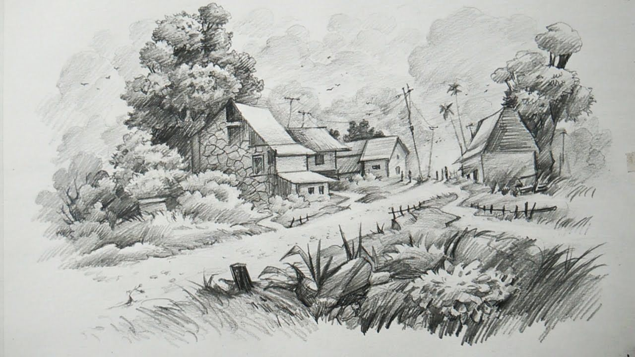 How to draw a landscape with pencil art pencil sketches