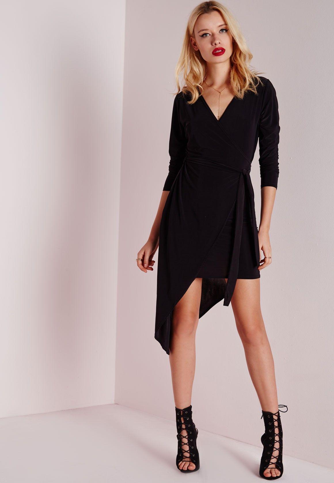 1752d6c6c34cb Slinky Wrap Dress Black - Dresses - Wrap Dresses - Missguided | Get ...