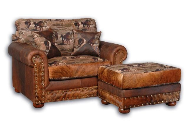 Merveilleux Big Sky Collection Laramie Western Fabric, Leather And Hair On Hide  Oversized Chair.
