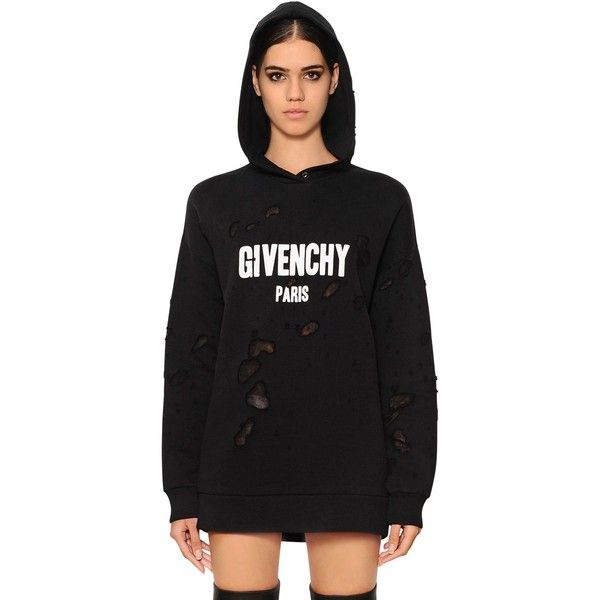 Givenchy Women Hooded Destroyed Jersey Sweatshirt ( 1 8be6937ae6