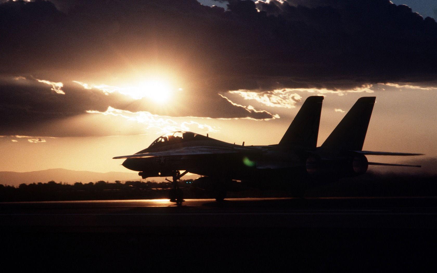 Sunset Landing Fighter Jets Aircraft F14 Tomcat