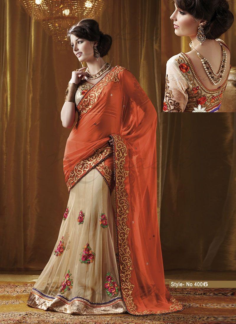 Images of saree royalorangebeigenetsareeg   sari colors