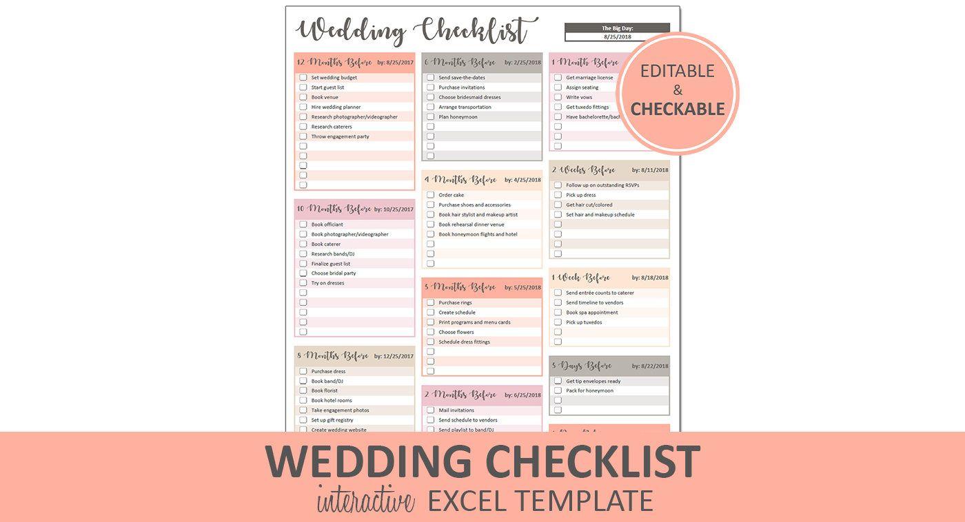 Peachy Wedding Checklist Excel Template Editable