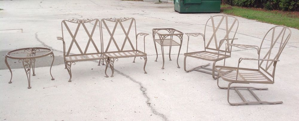 Vintage 50s WOODARD 6Piece Chantilly Rose Wrought Iron Patio Set