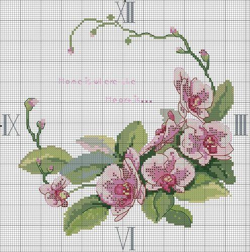 Схемы часов цветы