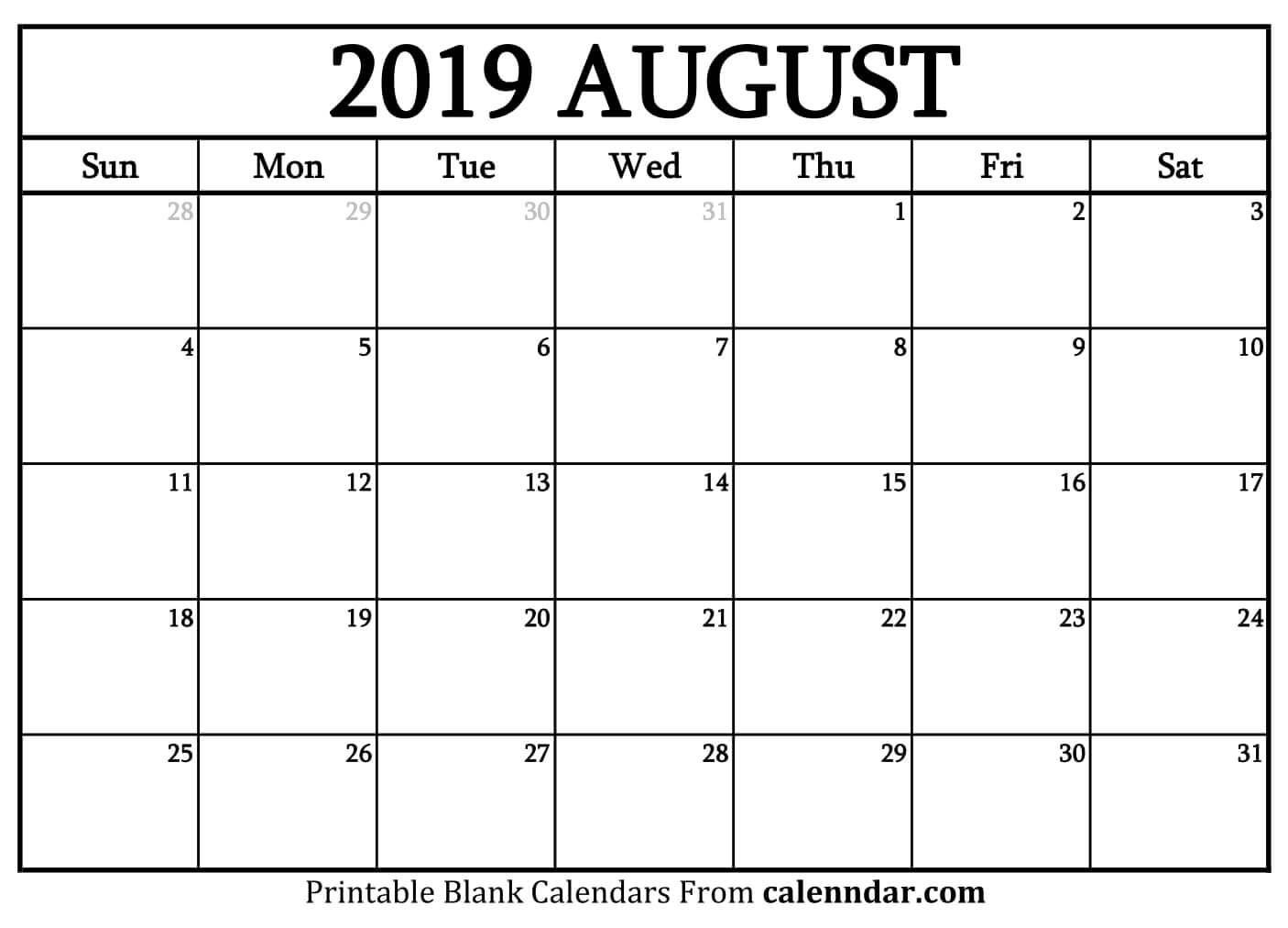 August 2019 Calendar Page August Calendar Calendar Printables