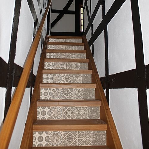 Autocollant carreaux de ciment beige pastel pour d co - Escalier carreaux de ciment ...