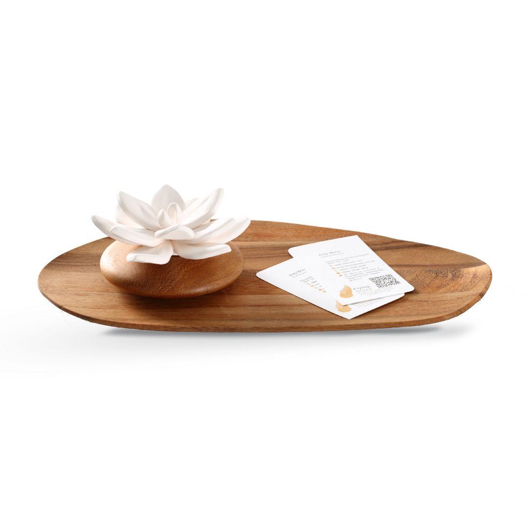 泰國實木香氛白瓷+實木底盤組合