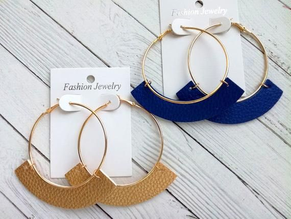 Photo of Leather hoop earring Beige leather earring Camel brown earrings Open huge hoop earring Curved faux leather Royal blue earring