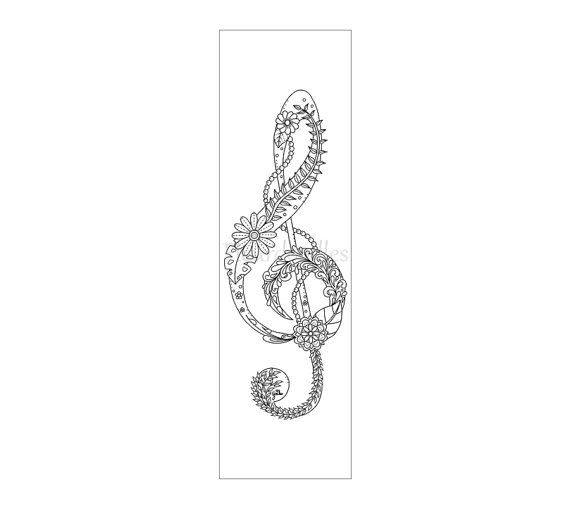 bookmark Treble Clef - adult coloring page music printable adult ...