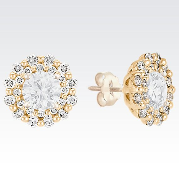 Round Diamond Earring Jackets In 14k Yellow Gold At Shane Co