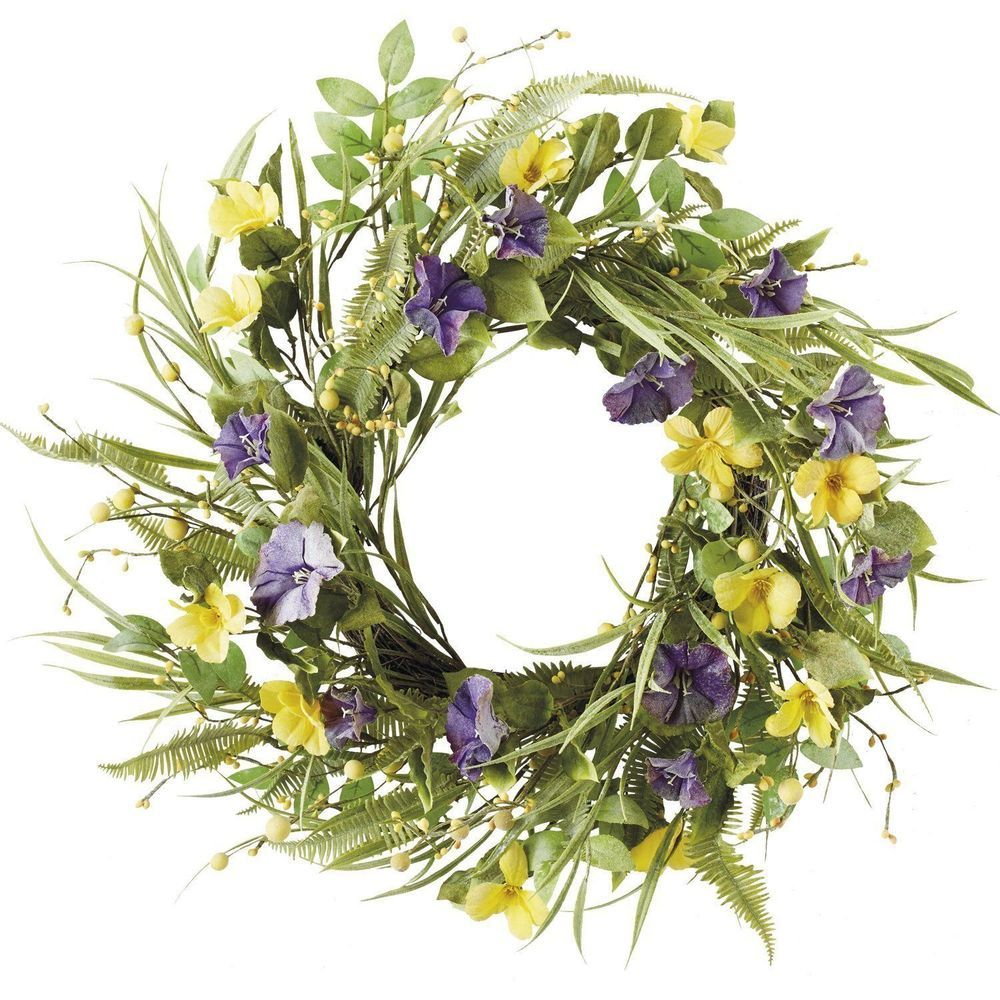 Large Spring Wreath For Front Door Home Hanging Decor Leaves Flowers Indoor 20 034 Seasonal Wall Decor Wreath Decor Easter Wall Decor